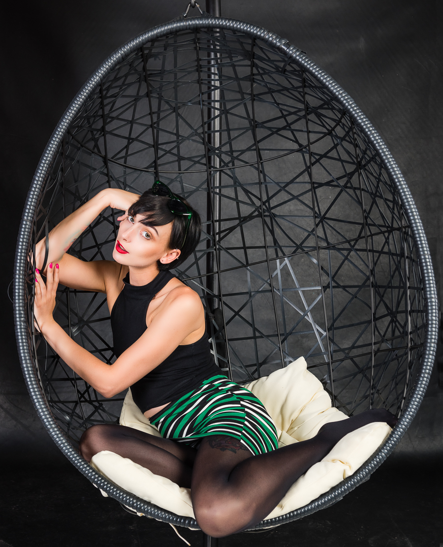 Comfy on the Egg Chair / Photography by Mike Lyne, Model Marie Jean Saxton, Makeup by Marie Jean Saxton, Post processing by Mike Lyne, Stylist Marie Jean Saxton, Taken at Pathway Studios / Uploaded 9th June 2019 @ 07:15 PM