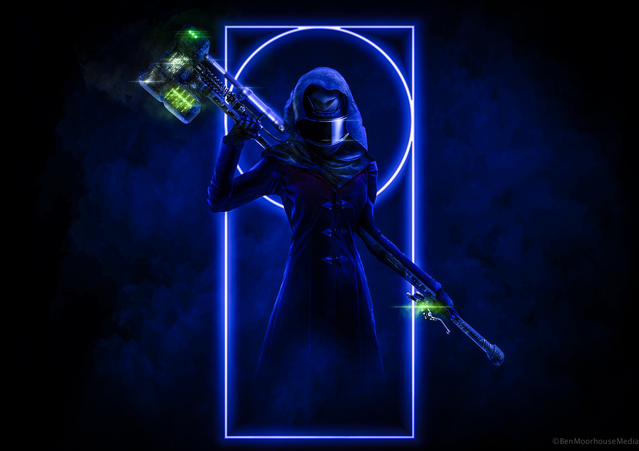 Neon Templar / Post processing by Ben Moorhouse, Artwork by Ben Moorhouse / Uploaded 26th October 2018 @ 07:53 PM
