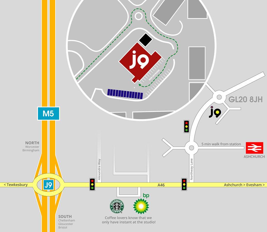 Map to J9 Studios
