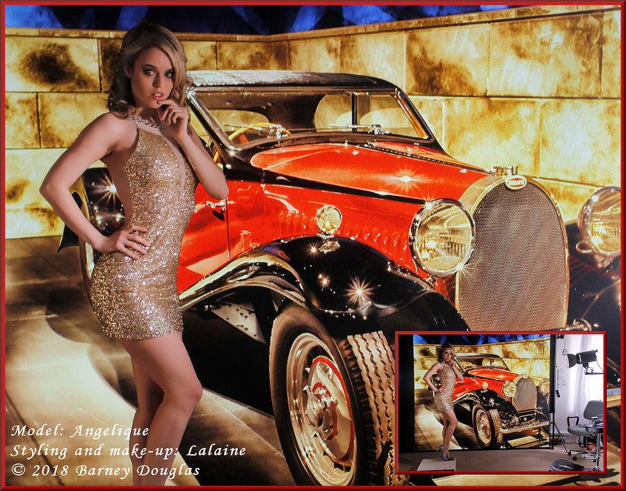 Angel with a virtual Bugatti Type 46 / Photography by Barney Douglas, Model Angel., Taken at Hangleton Lane Studio / Uploaded 8th April 2018 @ 12:29 PM