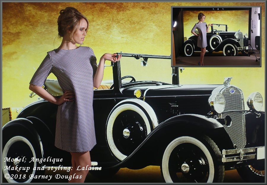 Angel with a virtual Ford Model A convertible / Photography by Barney Douglas, Model Angel., Taken at Hangleton Lane Studio / Uploaded 8th April 2018 @ 06:13 PM