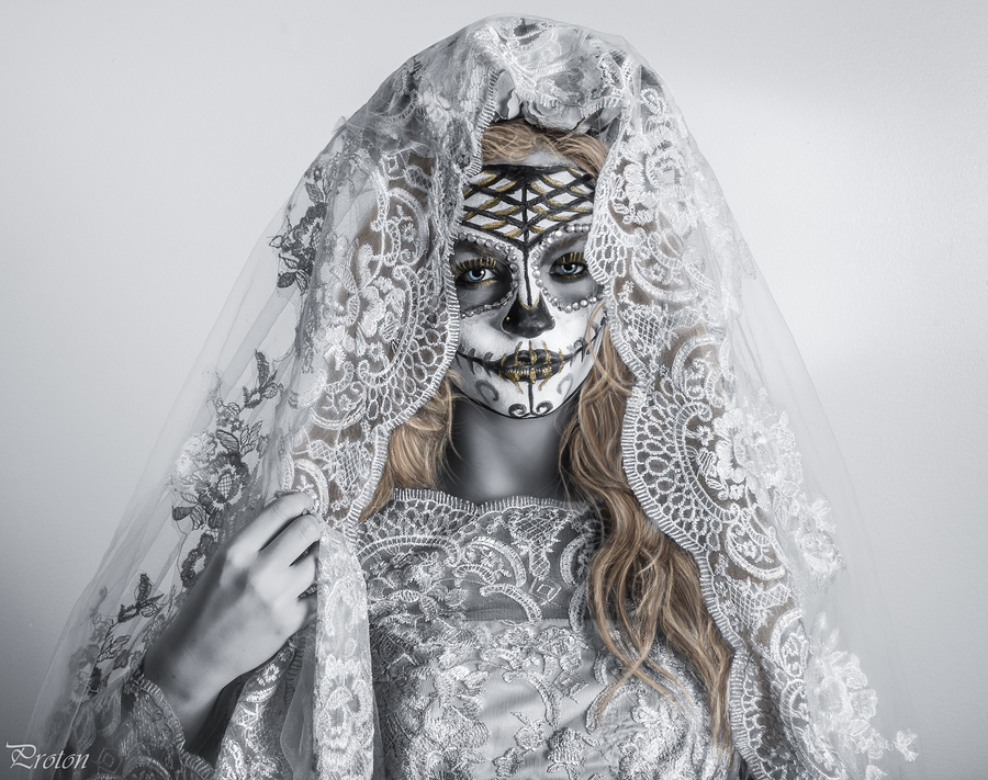 Day of The Dead golden bride / Photography by andrew james 71, Model Abigail Reign, Makeup by Abigail Reign, Stylist Candy Heart, Taken at Candy Heart / Uploaded 8th November 2017 @ 06:28 PM