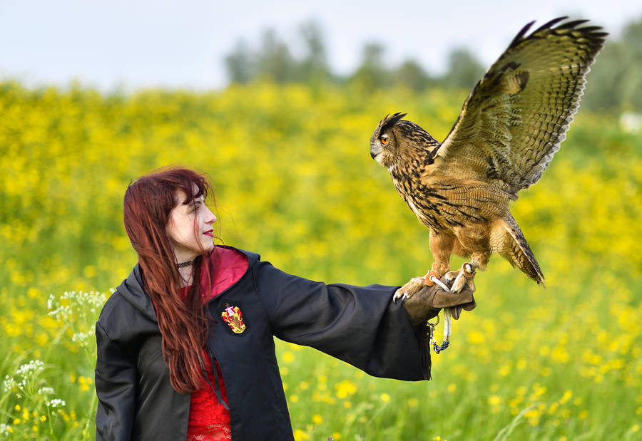 Zara Liore the Gryffindor Hermione at Hogwarts with owl, Bo / Photography by Michel Geven, Model Zara Liore, Makeup by Zara Liore / Uploaded 18th May 2018 @ 12:39 PM