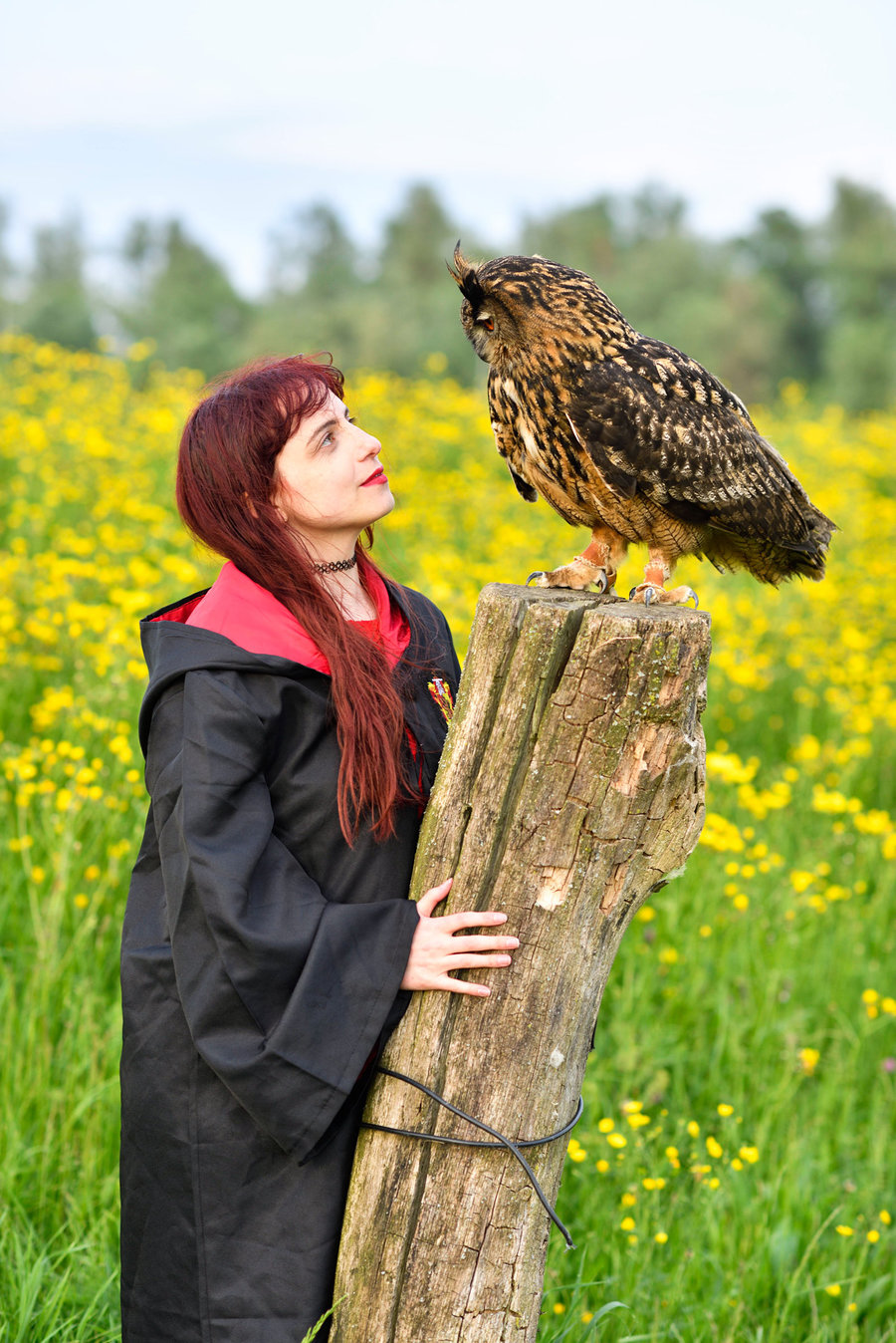 Zara Liore the Gryffindor Hermione at Hogwarts with owl, Bo / Photography by Michel Geven, Model Zara Liore, Makeup by Zara Liore / Uploaded 21st May 2018 @ 10:30 PM