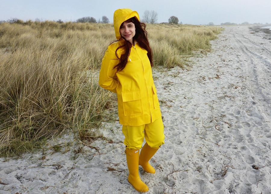 Enjoying yellow rainwear at a beach in Denmark / Model Zara Liore, Makeup by Zara Liore / Uploaded 22nd July 2020 @ 04:24 PM