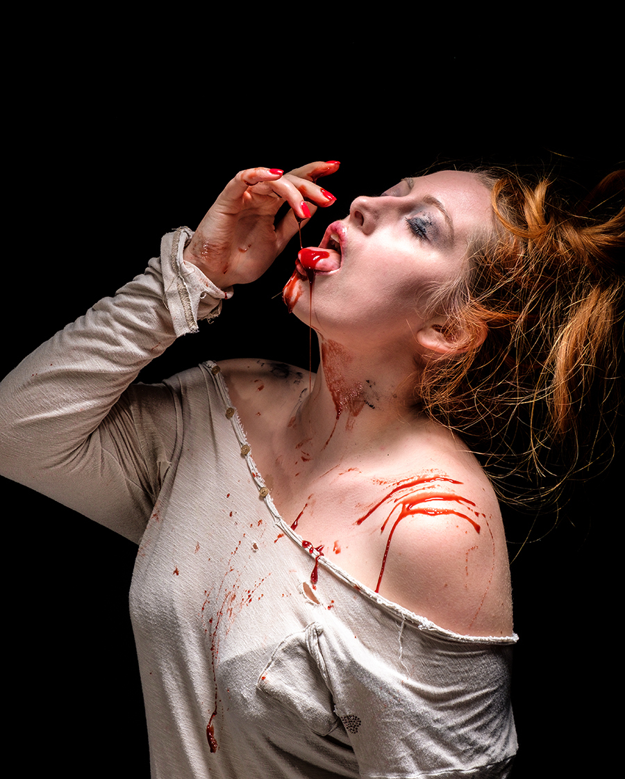Taste of blood...... / Photography by Gray2, Model Sinopa Rin, Makeup by Sinopa Rin, Post processing by Gray2, Stylist Sinopa Rin, Taken at Fareham Studio, Hair styling by Sinopa Rin, Designer Andy Gaden, Designer Sinopa Rin / Uploaded 29th October 2018 @ 01:41 PM