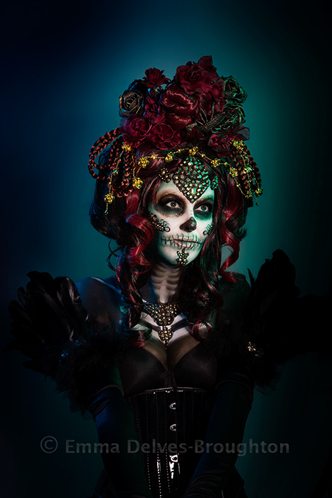 Self Portrait Skull / Photography by Emma Delves-Broughton, Model Emma Delves-Broughton, Makeup by Emma Delves-Broughton, Post processing by Emma Delves-Broughton, Stylist Emma Delves-Broughton, Taken at Emma Delves-Broughton, Hair styling by Emma Delves-Broughton / Uploaded 5th November 2018 @ 02:04 PM