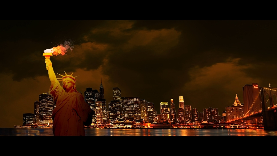 Statue of Liberty with flame