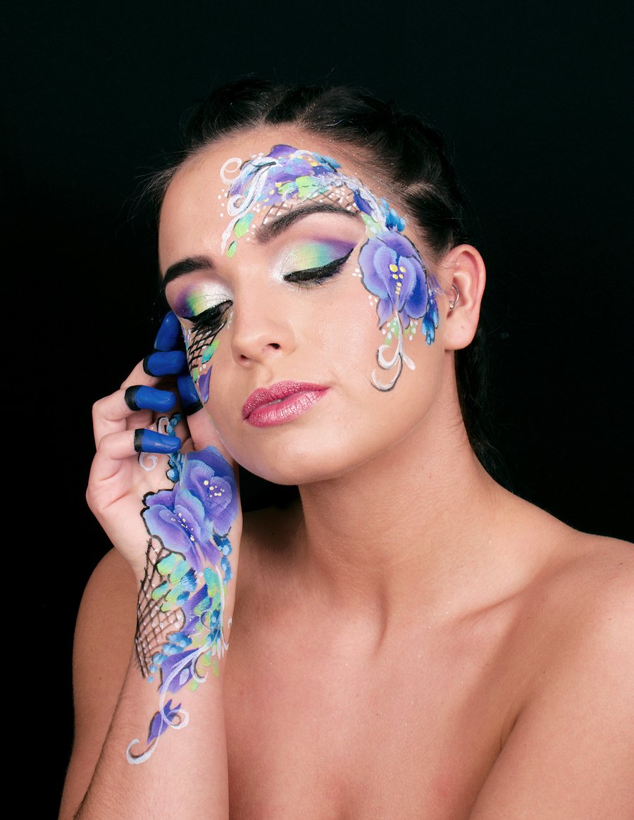 Orchid Facepaint / Photography by pierangela manzetti, Makeup by pierangela manzetti, Hair styling by pierangela manzetti / Uploaded 27th May 2017 @ 05:39 PM