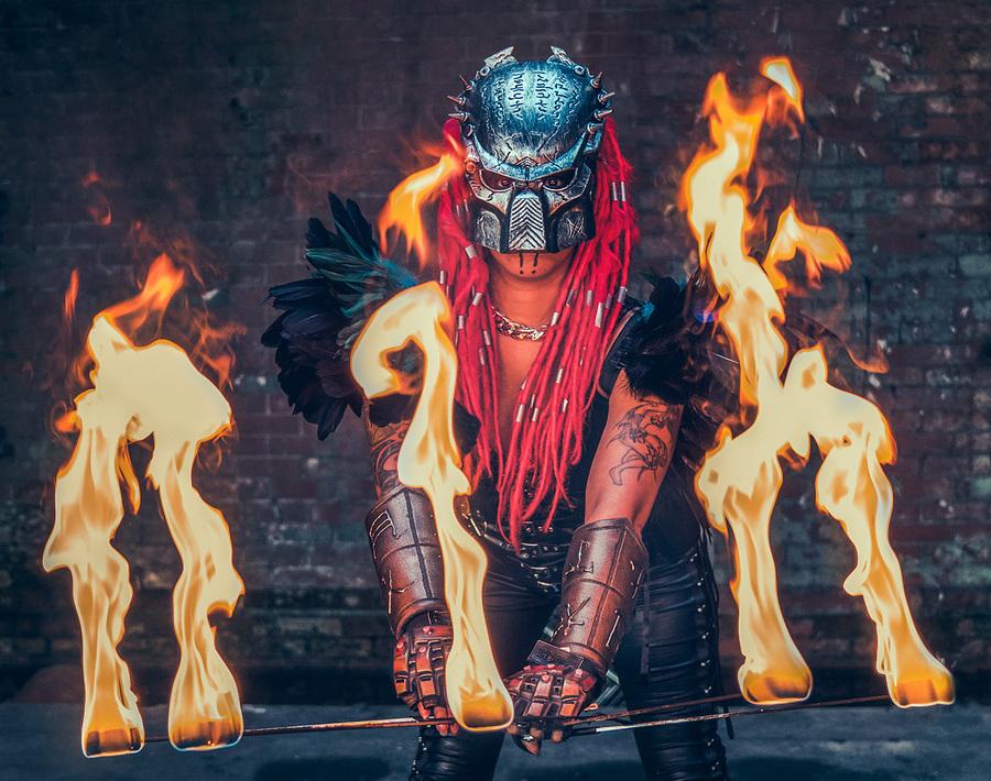 Predator & Fire / Photography by Matthew Jones, Model Ruby Derriere / Uploaded 13th February 2018 @ 08:13 PM