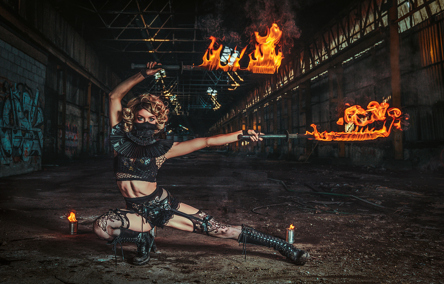 Fire Swords forever / Photography by Matthew Jones, Model Gem Pyro, Makeup by Gem Pyro / Uploaded 3rd February 2020 @ 05:26 PM