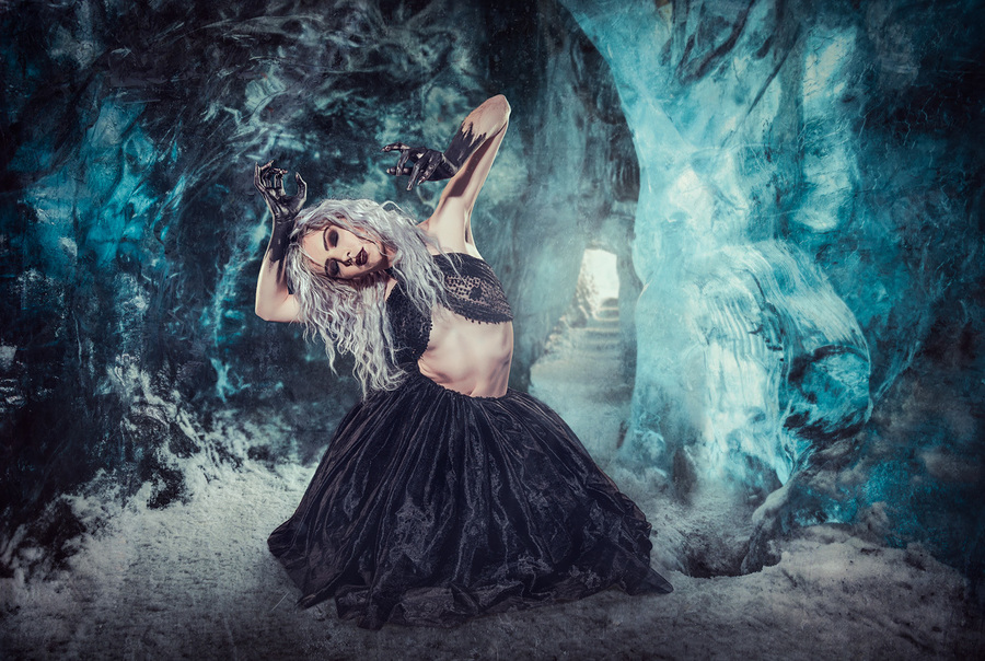 Girl in the Ice Cave / Photography by Matthew Jones, Model Rune (chibirune), Makeup by velvet rose  MUA, Hair styling by velvet rose  MUA / Uploaded 8th October 2020 @ 06:39 PM