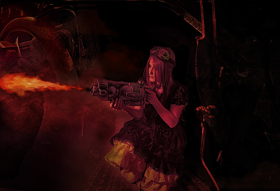 Steampunk flame thrower / Photography by Paul Gooddy, Model BeccaChii / Uploaded 28th October 2013 @ 02:42 PM