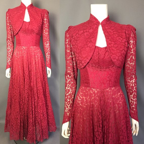 Red lace 1940s evening gown with bolero / Model Helen Diaz / Uploaded 20th November 2018 @ 07:28 PM