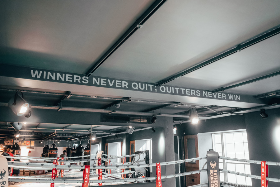 Ring / Mirrors / Winners Never Quit sign / Taken at Rathbone Boxing Club / Uploaded 5th December 2020 @ 04:01 PM