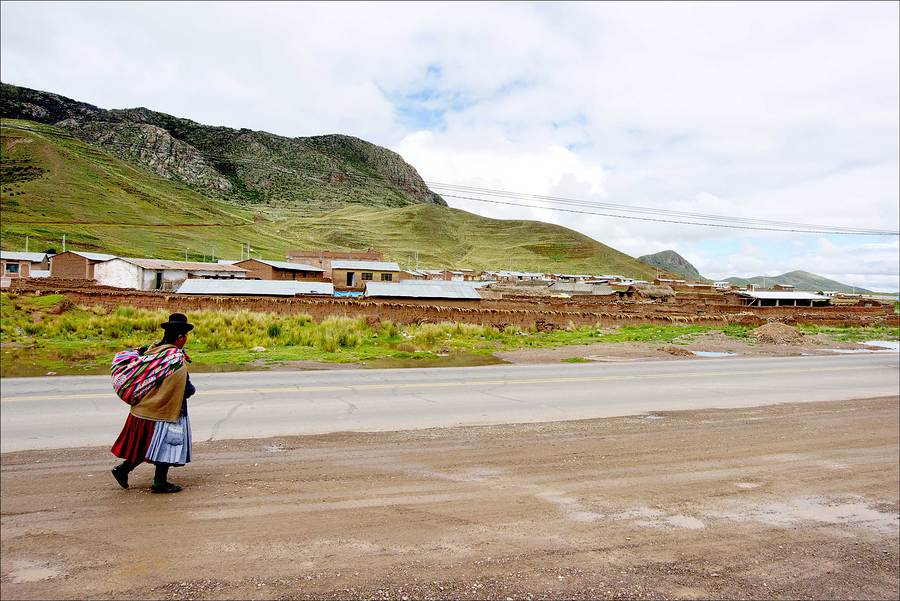 High Andes pedestrian with traditional bundle and clothes. / Photography by Jerome Razoir / Uploaded 5th June 2015 @ 07:16 PM