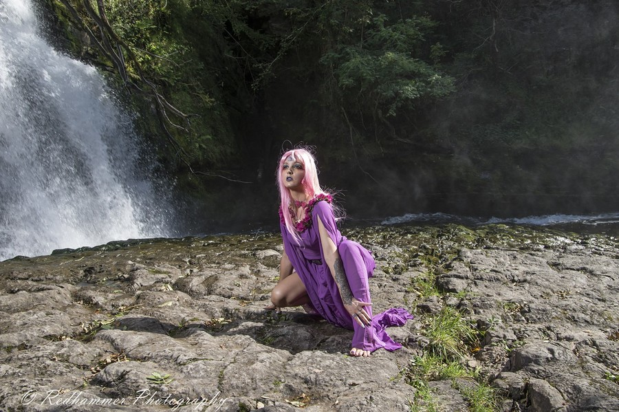Purple butterfly by the fall / Photography by Redhammer, Model Anna B1989 / Uploaded 23rd September 2019 @ 10:25 AM