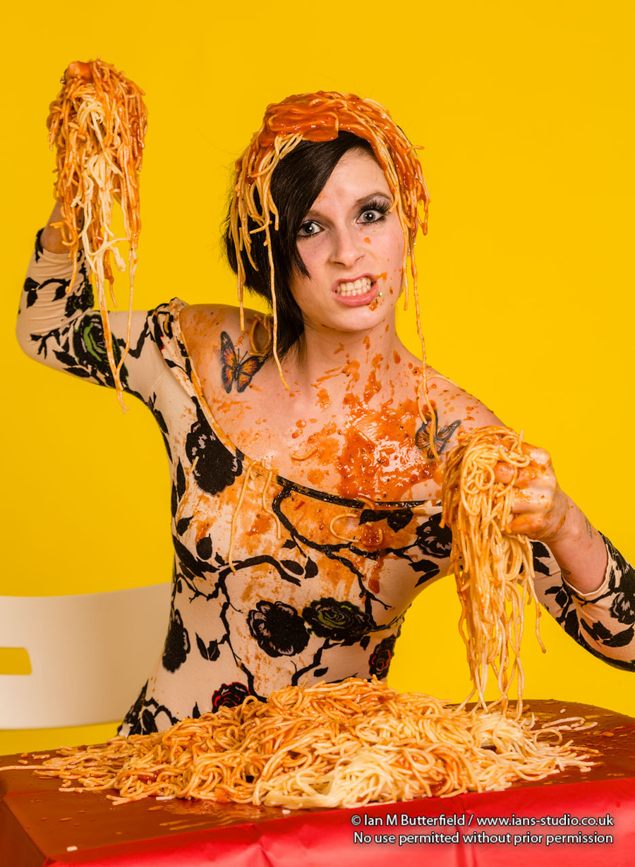 Food fight with spaghetti / Photography by Ian M Butterfield, Model ImperfectRose, Taken at Ian's Studio / Uploaded 11th May 2016 @ 04:10 PM