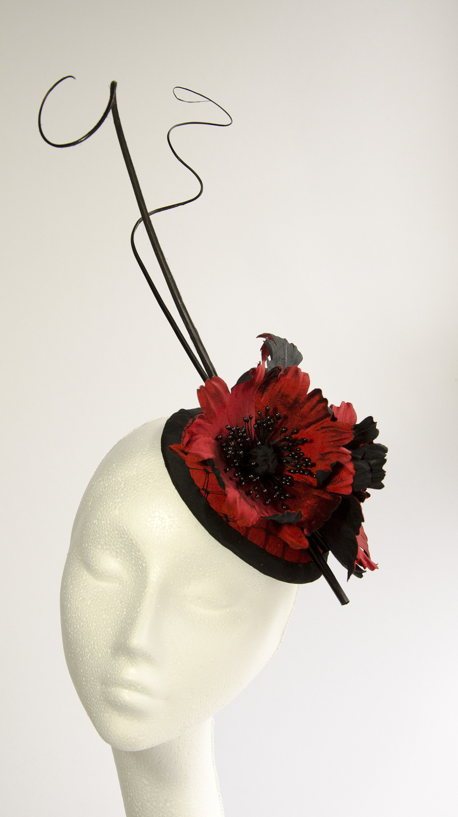 Silk fascinator with red and black poppy flowers, feathers and veiling / Designer Florissima / Uploaded 27th November 2014 @ 07:32 PM