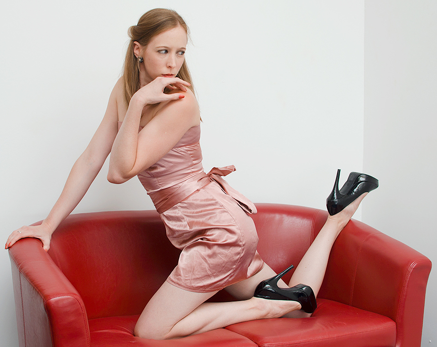 Pink Dress and Red Settee / Photography by Dennis Bloodnok Photography, Model Lottie21, Makeup by Lottie21, Post processing by Dennis Bloodnok Photography / Uploaded 27th July 2014 @ 01:41 PM