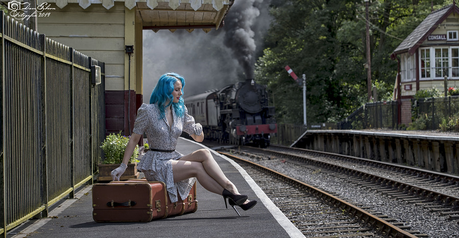 Watching The Trains Go By / Photography by Dave Gibson, Model Mina Von Vixen, Makeup by Mina Von Vixen, Stylist Mina Von Vixen, Hair styling by Mina Von Vixen, Designer Mina Von Vixen / Uploaded 30th October 2019 @ 04:10 PM