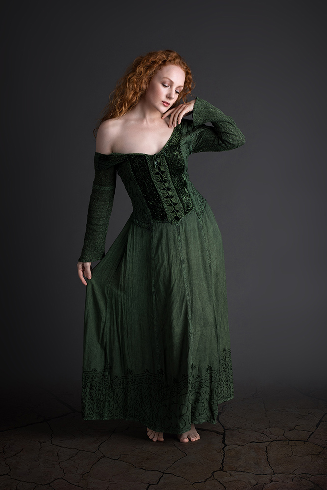 green frock / Photography by John Herm, Model Ivory Flame, Makeup by Ivory Flame, Post processing by John Herm, Taken at John Herm / Uploaded 1st December 2018 @ 02:06 PM