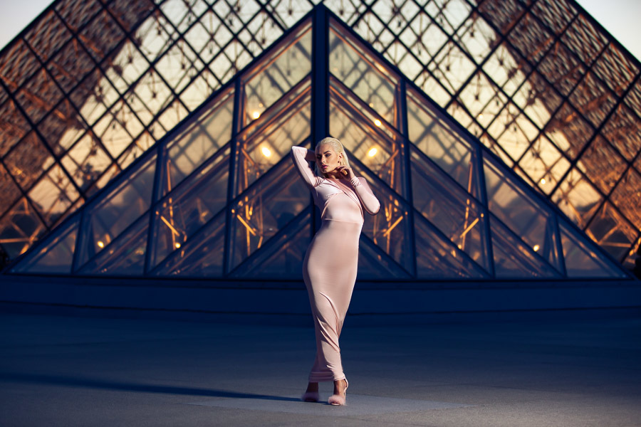 Louvre at Dusk / Photography by Michael Sibbons, Model Romanie Smith, Post processing by Michael Sibbons, Assisted by Dan Tidswell / Uploaded 24th November 2018 @ 05:39 PM